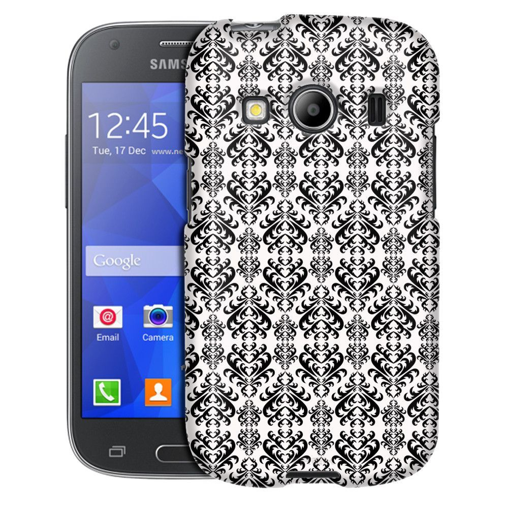 Samsung Galaxy Ace Style Victorian Damasks Black on White Case