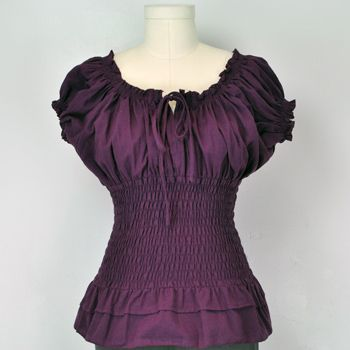Purple Peasant Top retro vintage style On Off shoulder
