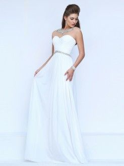 A-Line/Princess Sleeveless Sheer Neck Chiffon Ruched Sweep/Brush Train Dresses