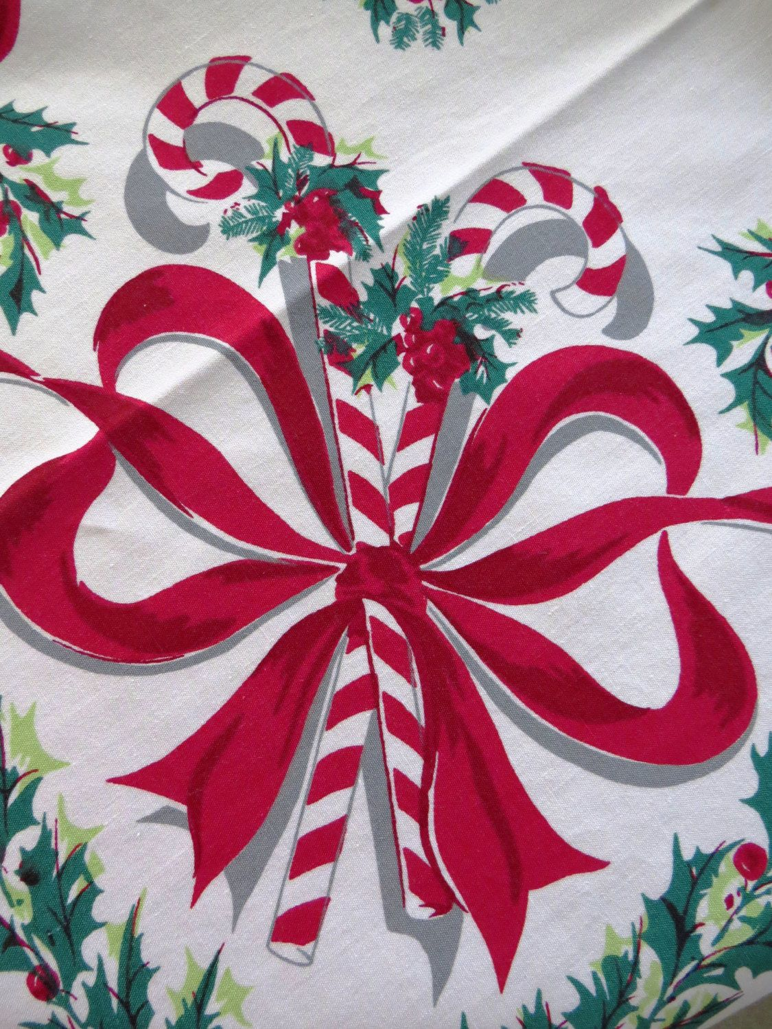 Large Candy Cane Decorations 1950S Large Christmas Tableclothsimtex  Candy Canes Holly