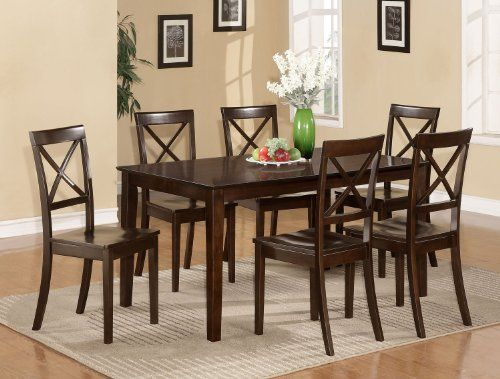 Room Set 7PC Dining Dinette Kitchen Table 6 Chairs Wood Seat