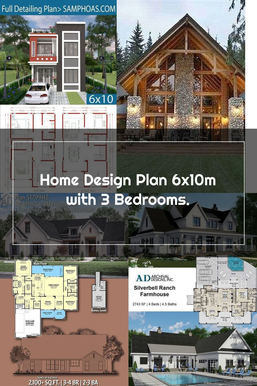 Home Design Plan 6x10m With 3 Bedrooms Samphoas Plan Need Laundry Area In 2020 Home Design Plan House Design Design