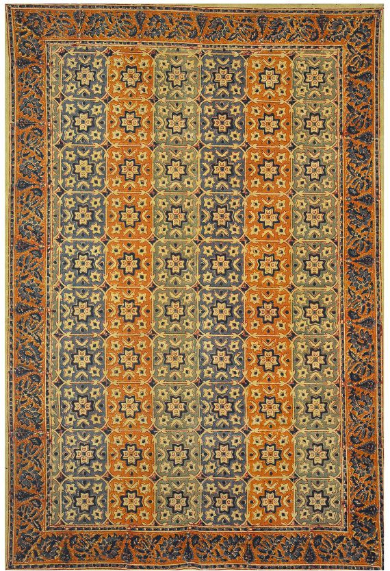 4x6 Ft Area Rugs Hand Block Print Organic Cotton Indian Dhurrie