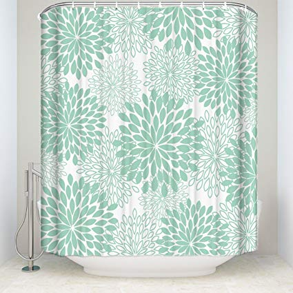 Amazon Com Dahlia Pinnata Floral Aqua Green Long Shower Curtain