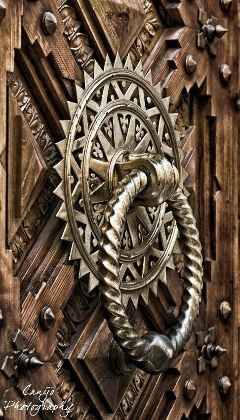 Exceptional Ornate Door Knocker On Carved Door
