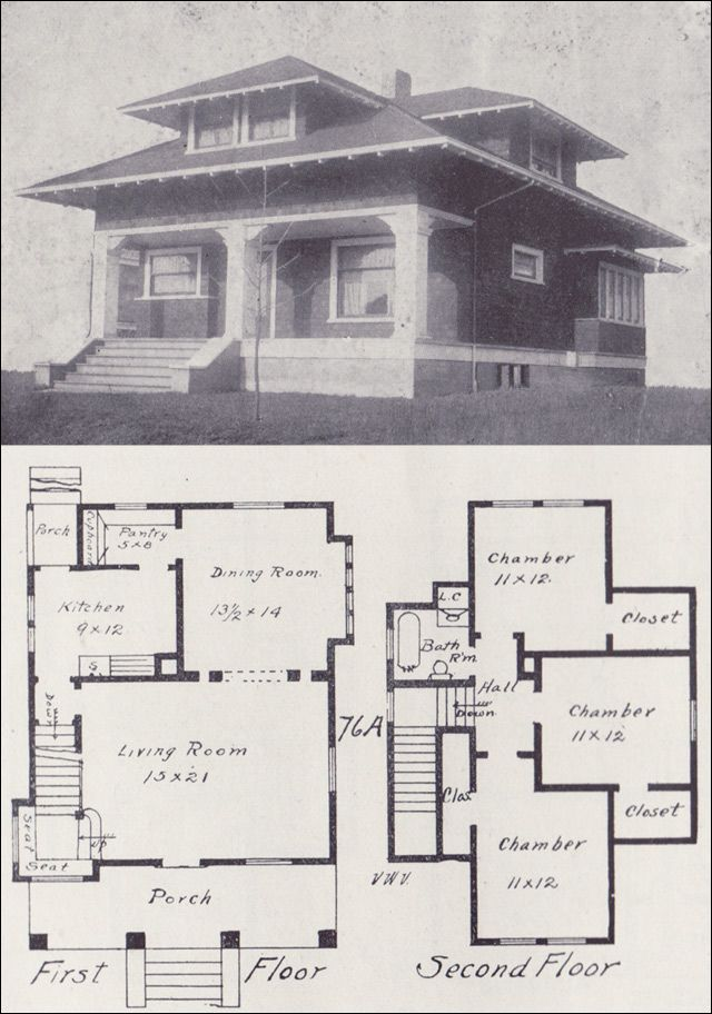 1908 western home builder no 76a bungalow style for Western homes floor plans