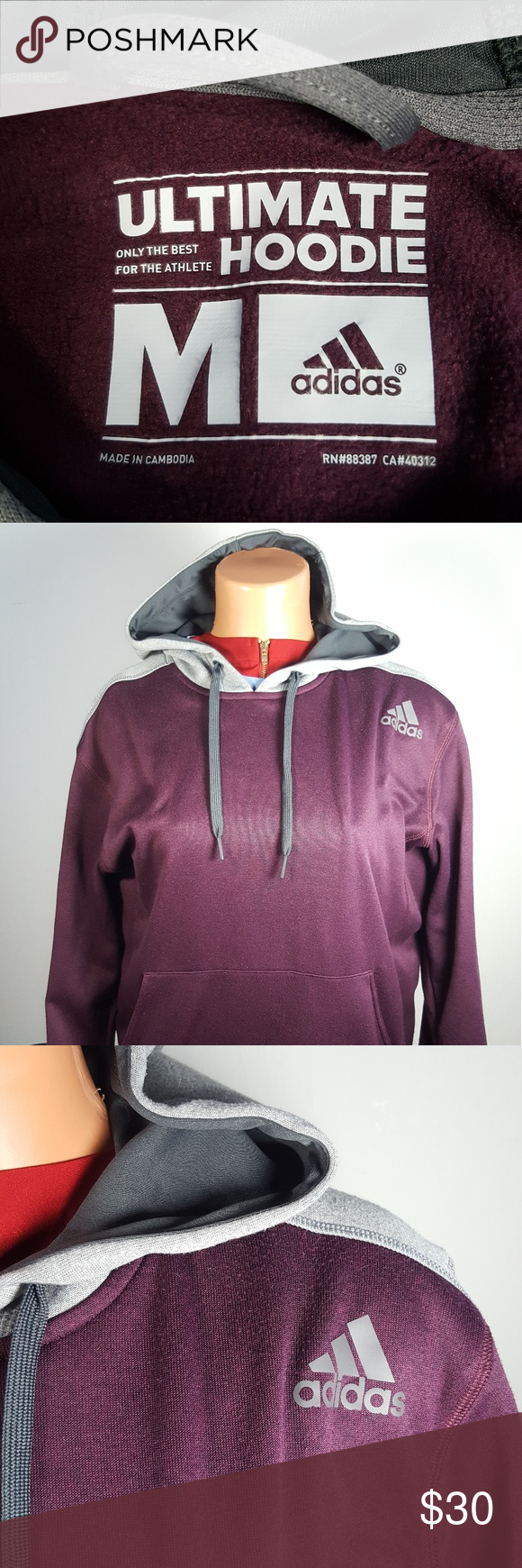 f8daf0457565 Adidas Hoodie Great condition Adidas Climawarm lightweight pullover  Burgundy red   gray adidas Jackets   Coats Lightweight   Shirt Jackets