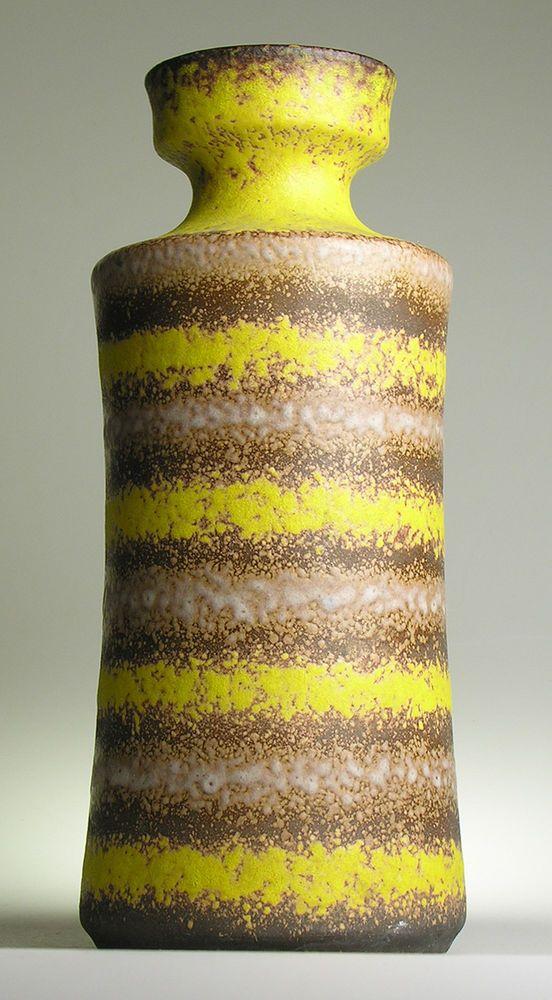 West German Pottery Ceramic Modernist 20 th Mid Century Vintage Retro Yellow Bay