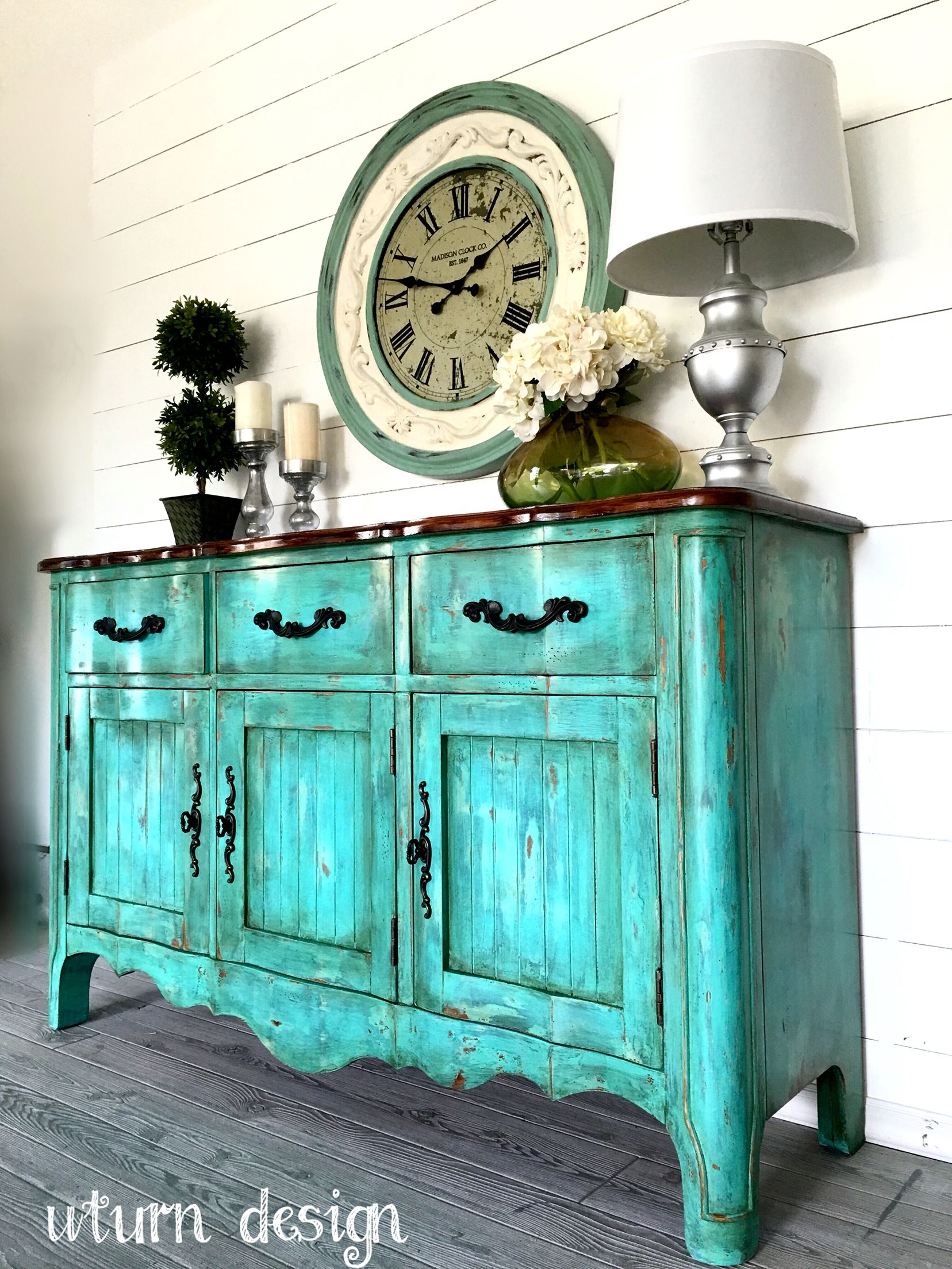Teal Aqua Chippy Farmhouse Buffet By Uturn Design Furniture Inspiration Furniture Makeover Painted Furniture