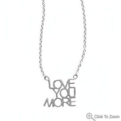 LOVE YOU MORE Necklace Pendant 16 18 inch  925 by ForsgateJewelry, $33.15