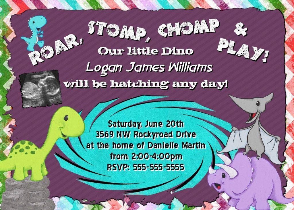 DINOSAUR Baby Shower Invitation Theme Prehistoric Printable Invite ...