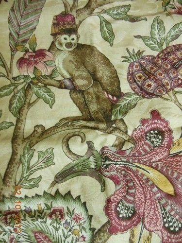 Raymond Waites Belize Toile Monkey Rouge Cotton Drapery