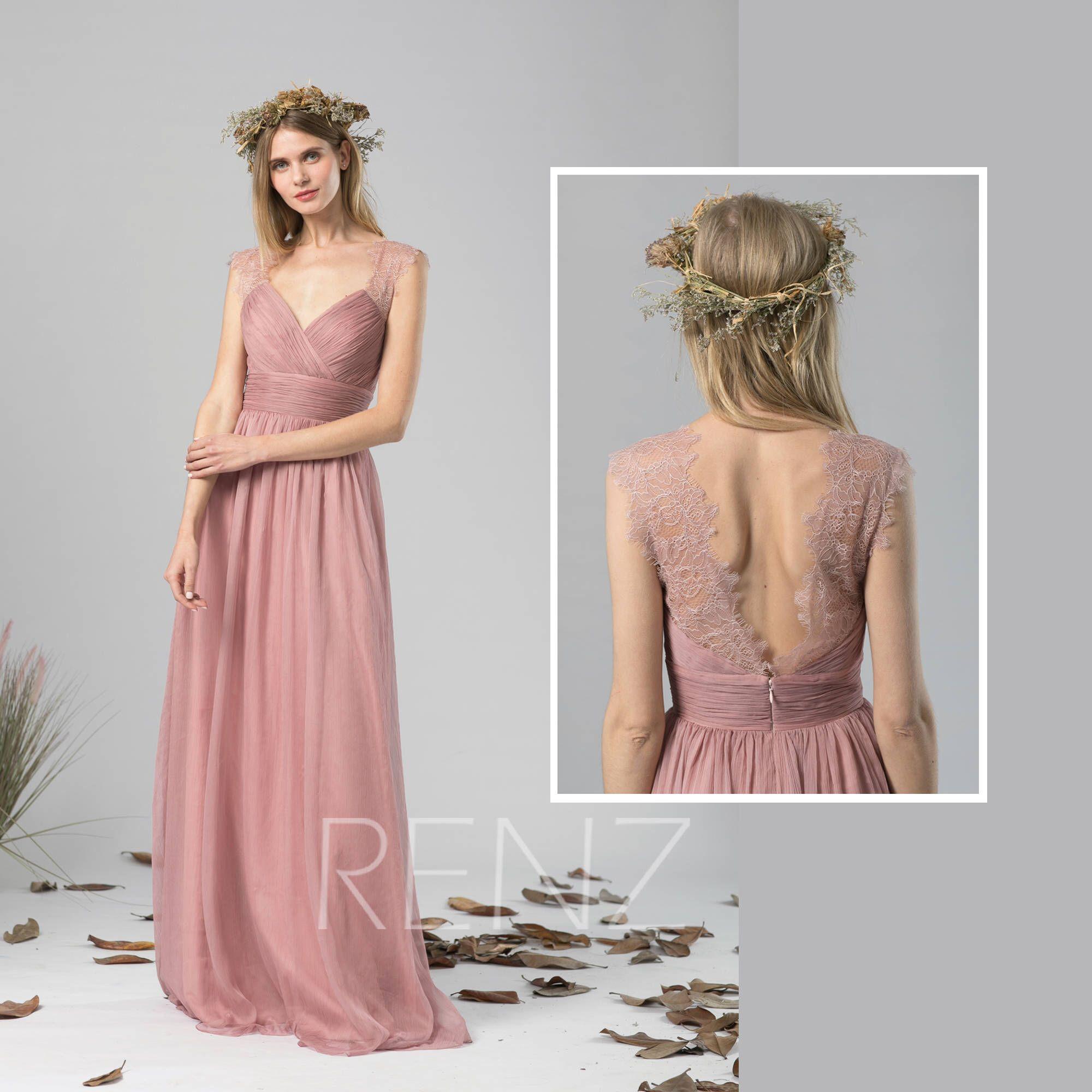 Bridesmaid Dress Dusty Rose Chiffon Dress Wedding Dress,Ruched V Neck Maxi  Dress,Illusion Back Party Dress,Sleeveless Evening Dress(L422)