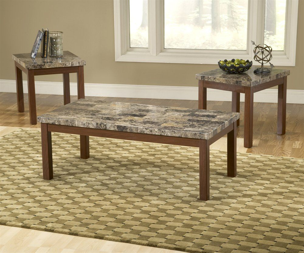 Bernards 8930 faux marble and cherry tables 3 pack