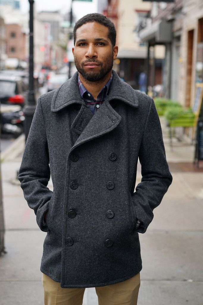 Slim Fit Peacoat in Grey Wool Melton | Outerwear | Pinterest