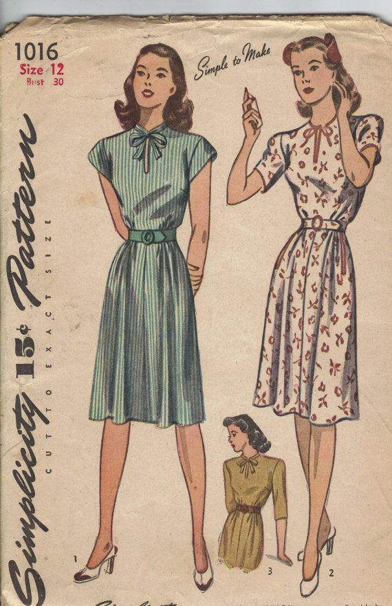 Vintage 1940\'s Women\'s Dress Pattern, Simplicity 1016 Sewing Pattern ...