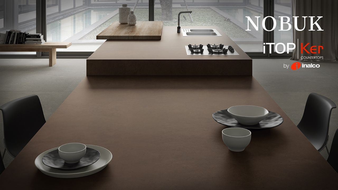 Nobuk iTOPKer´s distinctive personality fuses leather´s earthy tones, velvety touch and appearance with the strength and resistance of ITOPKER porcelain countertops.