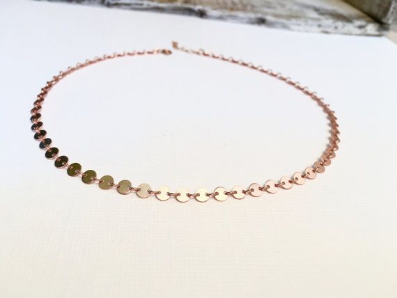 Rose Gold Coin Choker Necklace, Gold Filled Dotted Choker, Sterling Silver Coin Tattoo Choker, Bohemian Choker Necklace, Modern…