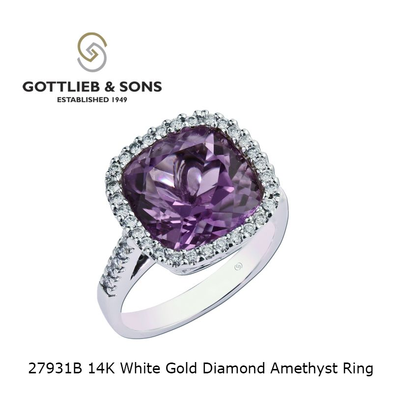 This remarkable 14K White Gold Diamond Amethyst ring is an impressive statement.  This #amethyst ring features a stunning cushion cut #amethyst surrounded by a pavé set #diamond halo. Visit your local #GottliebandSons retailer and ask for style number 27931B. http://www.gottlieb-sons.com/product/detail/27931B
