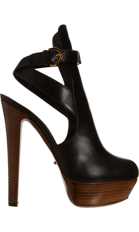 """SERGIO ROSSI, Open Back Ankle Boot In Black. With a 6"""" heel not sure I can carry it off. Might Weeble-wobble at 6'2"""", but God I'd give it my best shot!"""