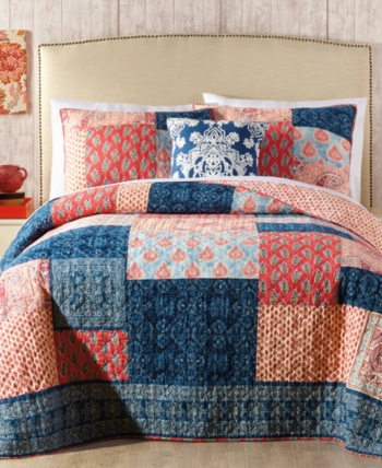 BEAUTIFUL VINTAGE GLOBAL REVERSIBLE PATCHWORK BROWN COTTON BLUE RED QUILT SET