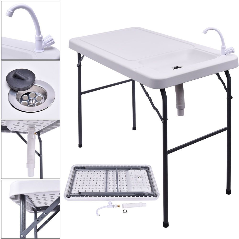 Coleman fish cleaning table re camping sink - 2016 Folding Portable Fish Table Hunting Cleaning Cutting Camping Sink Faucet Unbranded