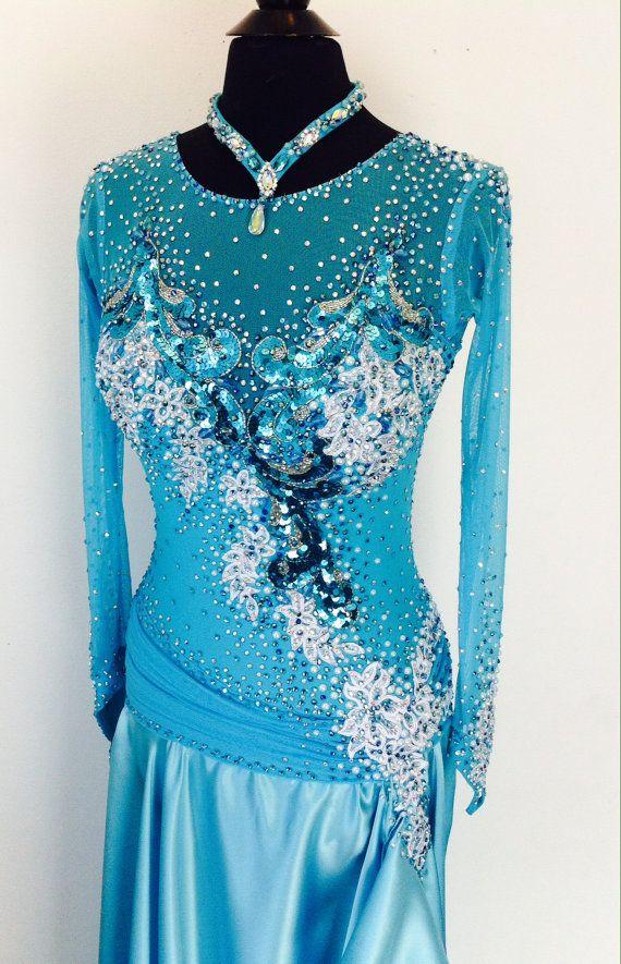Blue Dance Dress Smooth Dance Dress by DesignByNatasha