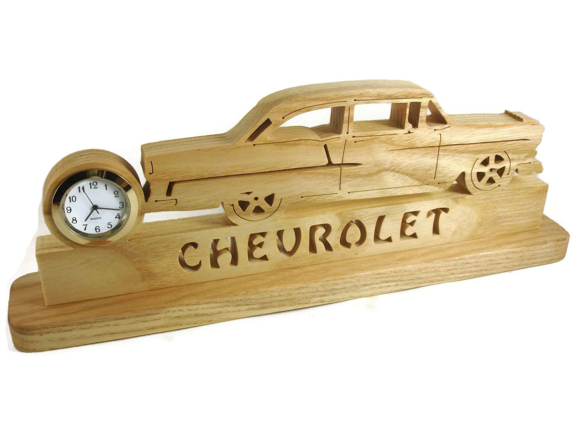 1955 Chevrolet Bel Air Bureau Ou Une Etagere Scie A Chantourner Horloge Fait Main A Partir De Bois De Cerisier Par Kev 1955 Chevy Bel Air Chevy Bel Air Bel Air