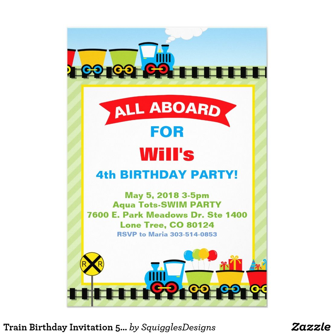 Train Birthday Invitation 5x7 Photo Card | Will | Pinterest | Photo ...