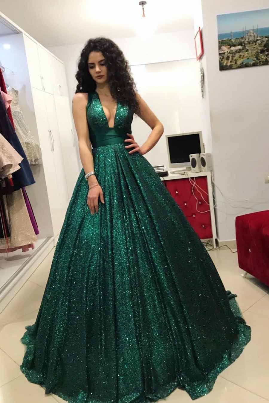 Buy sparkly sequins ball gown dark green vneck prom dress