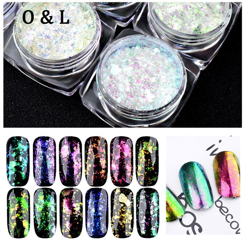 Box Top Quality Nail Art Flakes Magic Mirror Effect Glitters Chameleon Powders Multi Chrome Sequins Dust Manicure Decorations