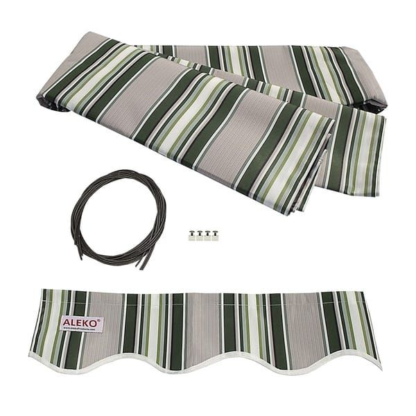 Aleko Motorized 20x10 Feet Retractable Outdoor Patio Awning Sunshade Multi Striped Green Retractable Awning Patio Awning Fabric Awning