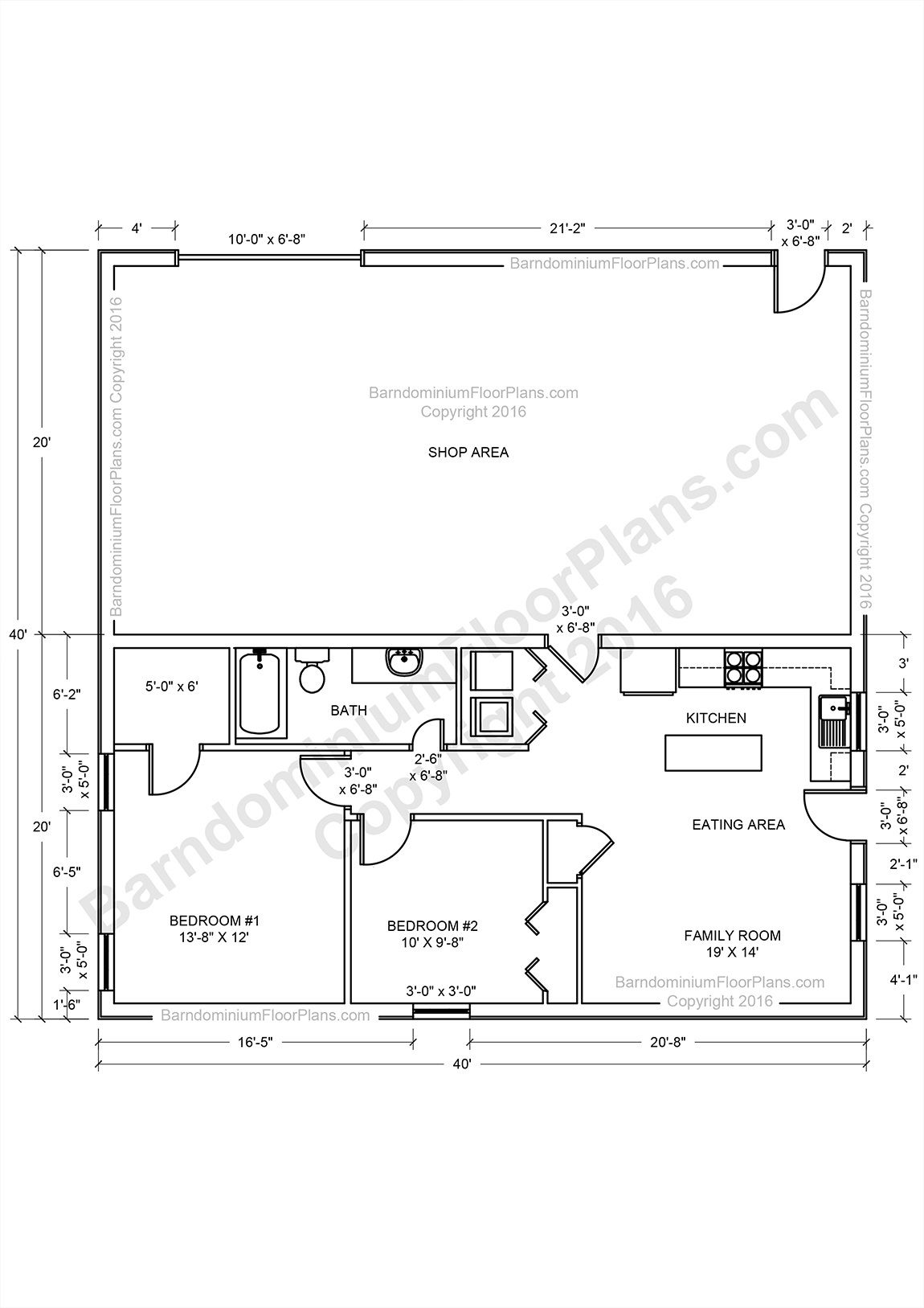 Barndominium floor plans pole barn house plans and metal for 40x40 house floor plans