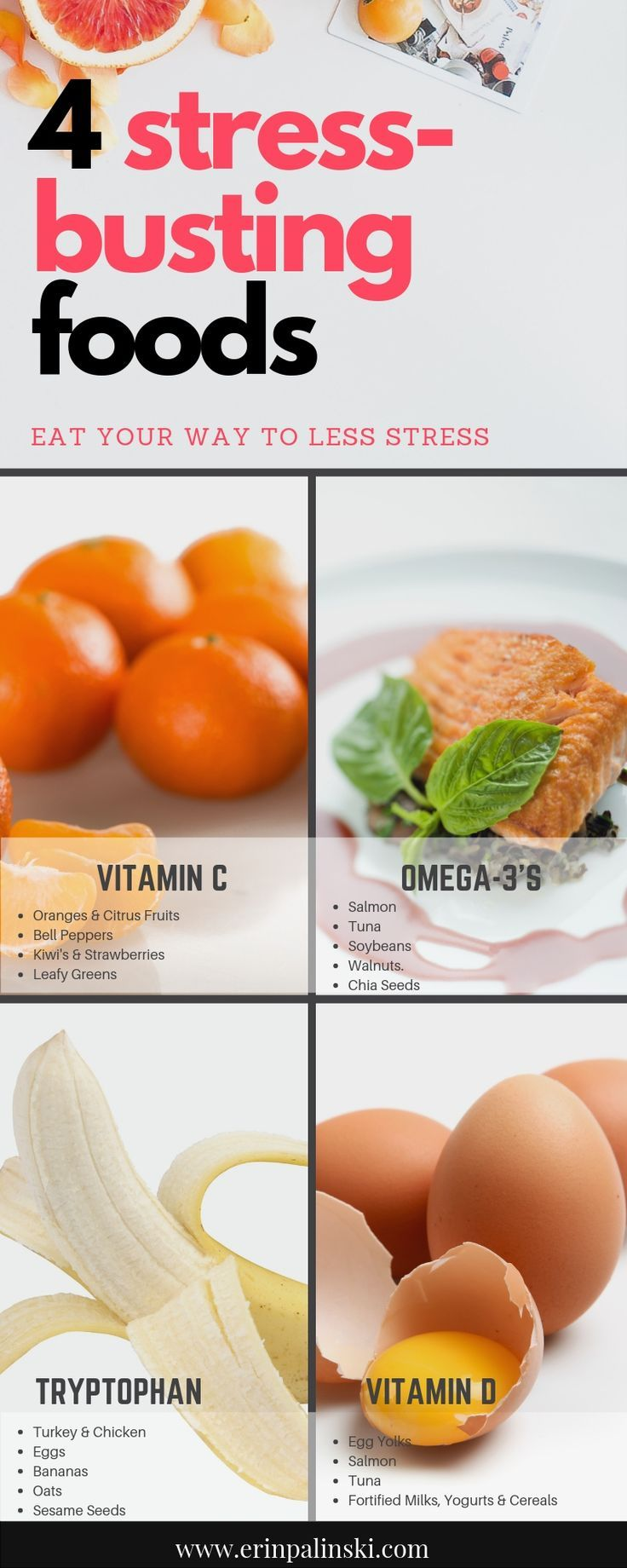 4 Stress-Busting Foods Vitamin C Omega 3's Tryptophan Vitamin D. #mealplanning #mealplanningguide #h...