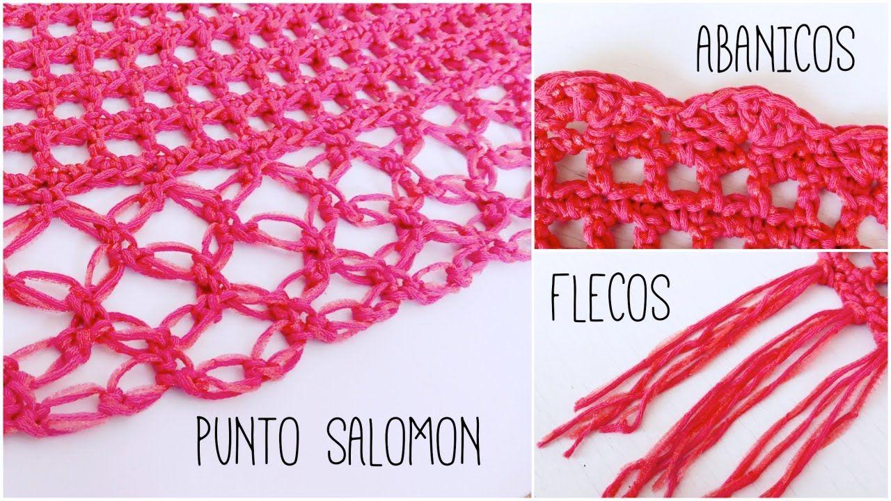 3 bordes para CHAL a crochet (punto salomón, flecos y abanicos) + ...