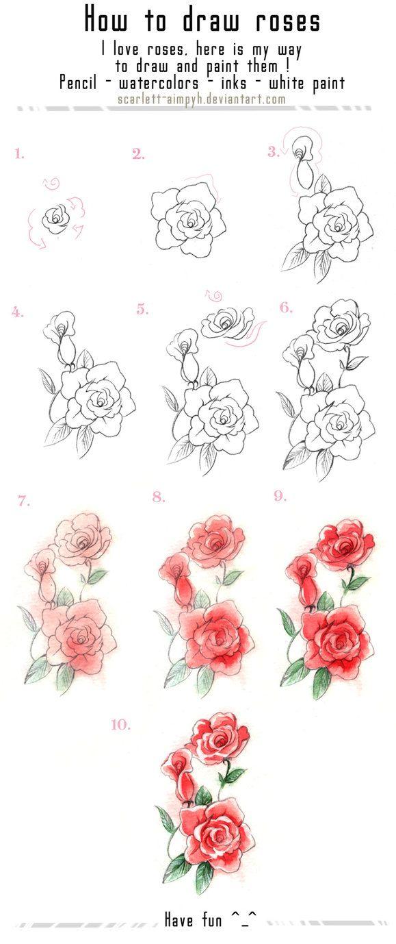 Flower Drawings 이미지 포함 장미 그리는 법 장미 그림 꽃그림