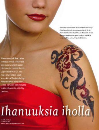 Kimalletatuoinnit ovat ihania, tässä ei siis ole tatuointia vaan kaikki on tehty käsityönä kimalteella!