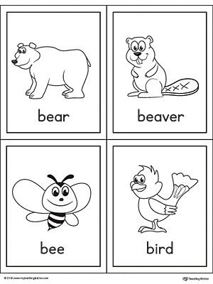 Letter B Words And Pictures Printable Cards Bear Beaver Bee