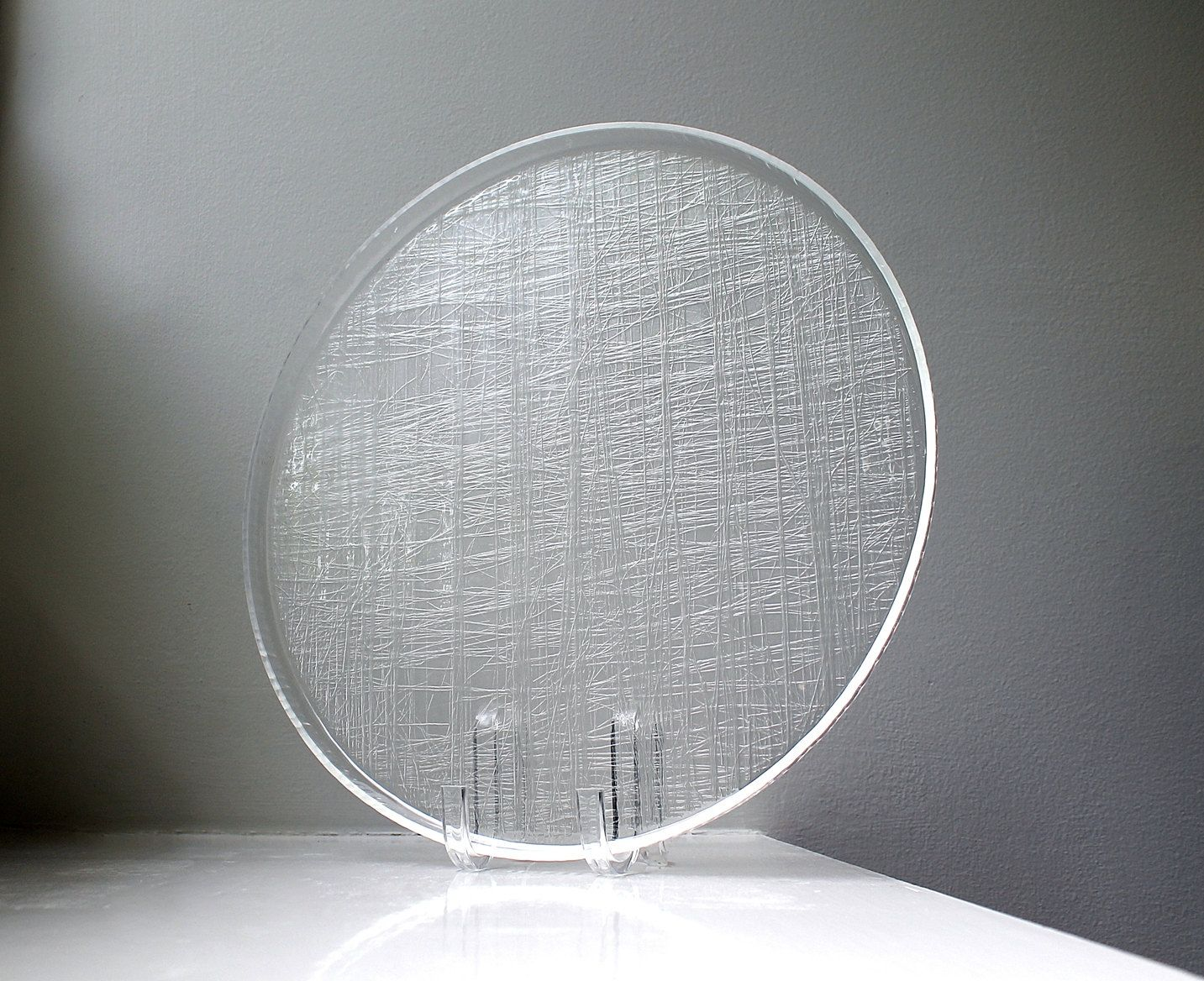 Mod Textured Lucite Tray Brutalist Abstract Vintage Clear Acrylic Plastic Charger 1960's by VintageModernAndMore on Etsy