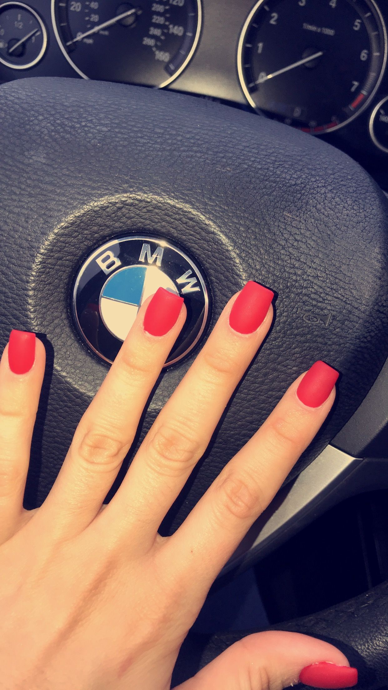 nails #matte #red #valentines #acrylic #square #bmw #apple   nailed ...
