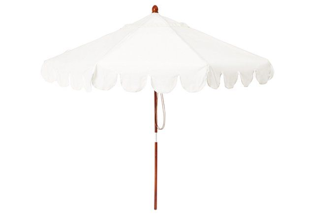 The Scallop Edging On This All White Umbrella Is So Sweet