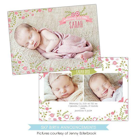 Birth Announcement Template Garden Baby E899 Por Birdesign Geburtsankundigung Vorlage Geburtsanzeige Ideen Geburtsanzeigekarten