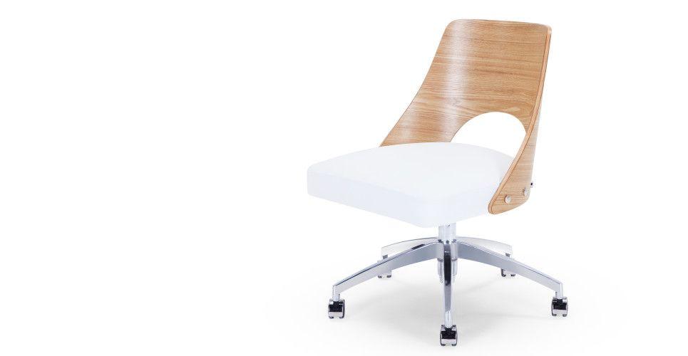 Made Com Chaise Pivotante Bois Clair Blanc Chaise Bureau Fauteuil Bureau Et Bureau Pivotant