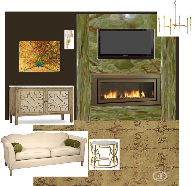 Green U0026 Gold   Elegant Living Room Concept Board   By Second Wind Interiors