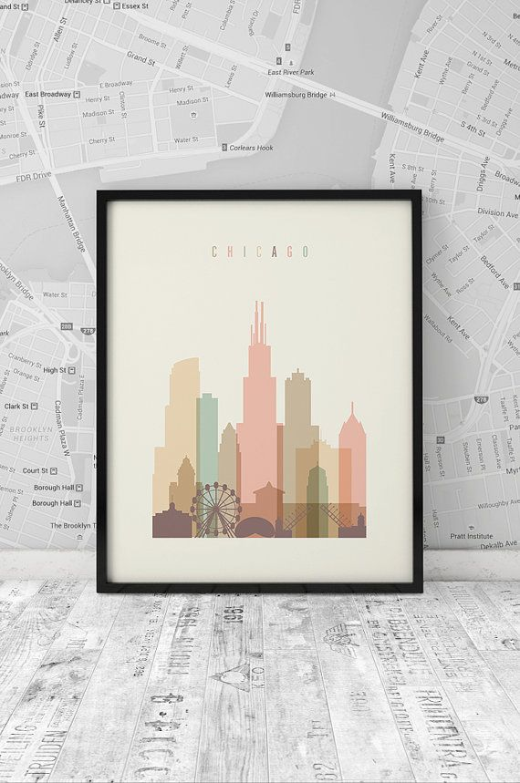 Chicago art print Printable Poster Wall Art by ArtFilesVicky