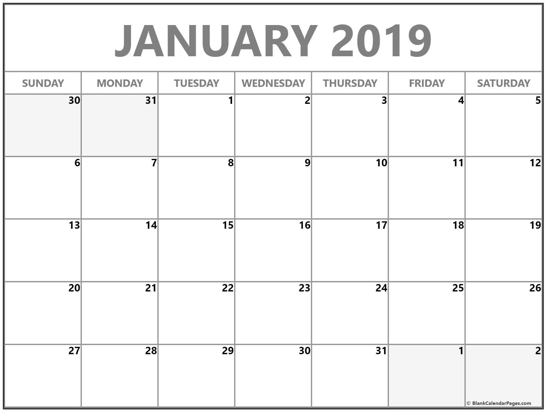 january 2019 blank monthly calendar template printable calendars rh pinterest com
