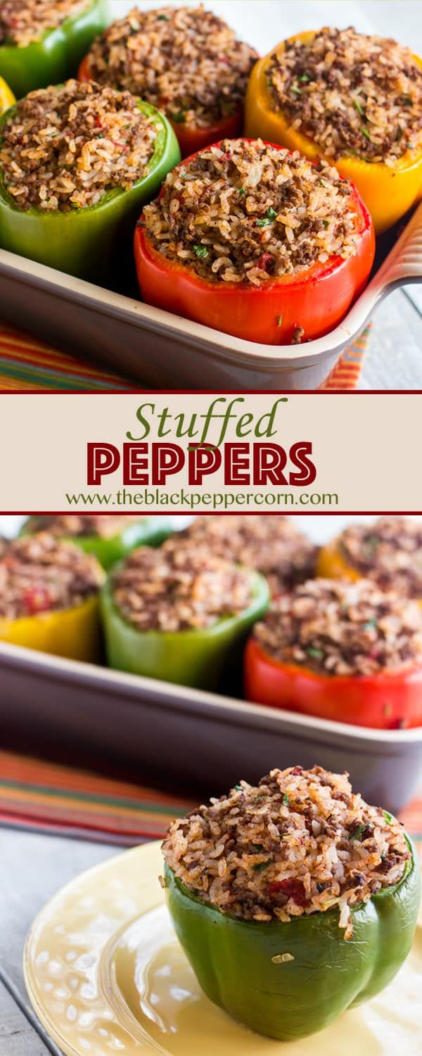 Stuffed Green Bell Pepper Recipe With Ground Beef And Rice Bell Peppers Recipes Beef Peppers Recipes Stuffed Peppers