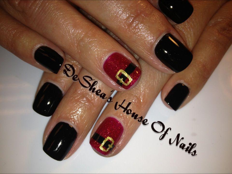 Shellac nails Santa belt.. Gotta have it for the holidays! | Nail ...