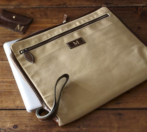 Saddle Canvas Zipper Laptop Sleeve