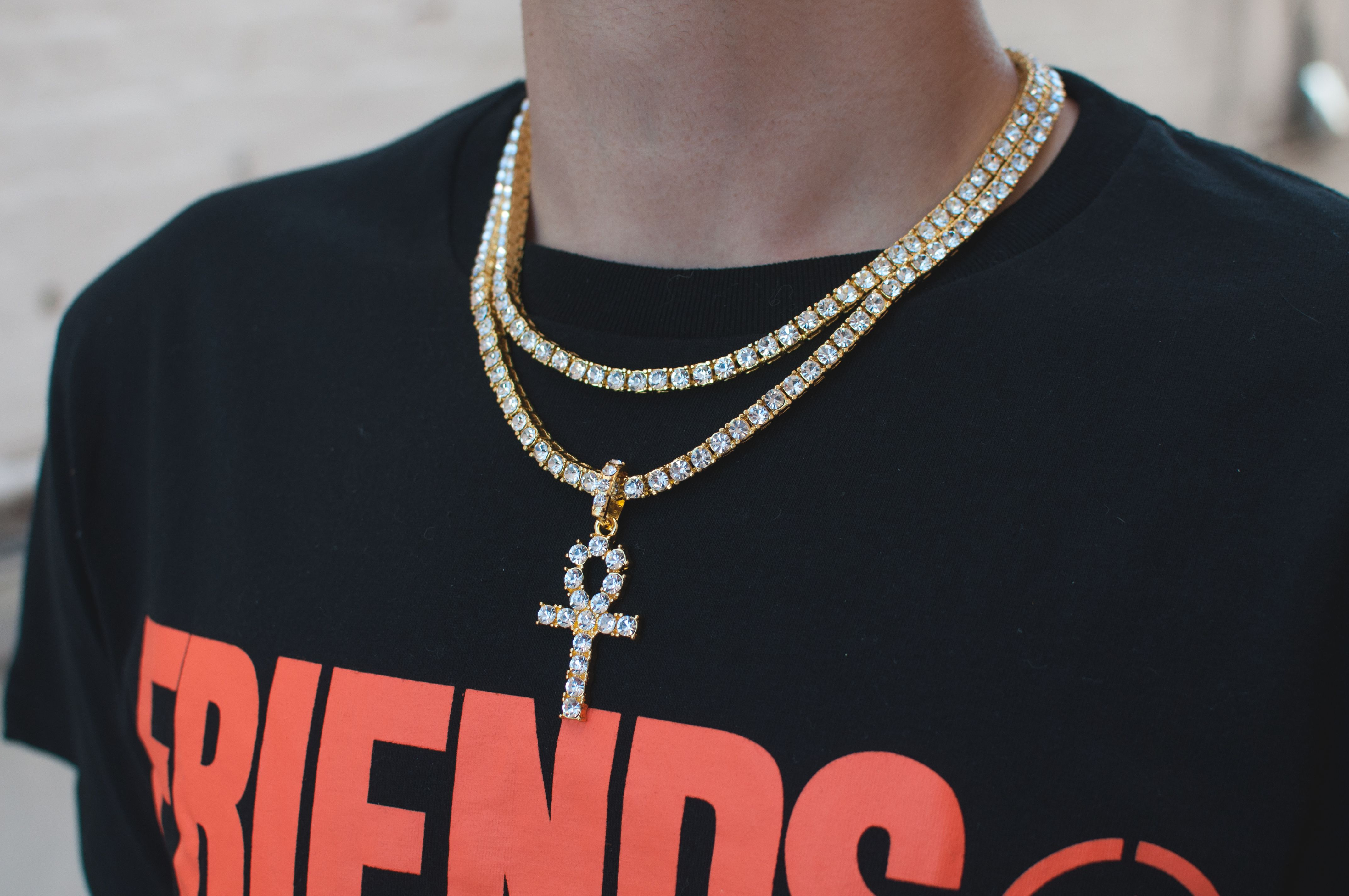 Diamond Tennis Chains With Ankh Bundle Gold Grillz Hip Hop Jewelry Chain